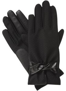 Isotoner Black Dobby Stretch Faux Leather smarTouch Lined Gloves S XS
