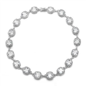 Mariell Silver Cushion Cut Halo Pave Necklace 4069n-rg