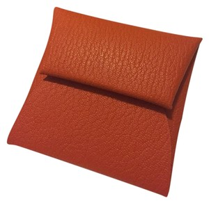 Hermès HERMES Orange Mysore Goastskin Bastia Coin Purse