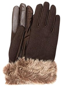 Isotoner Brown Wool Blend Stretch Faux Fur Cuff smarTouch Lined Gloves M L