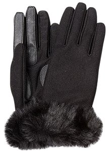 Isotoner Black Wool Blend Stretch Faux Fur Cuff smarTouch Lined Gloves XL