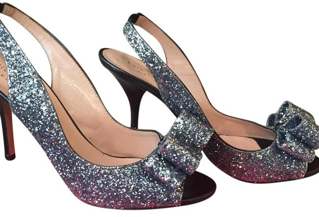 Item - Navy with Silver Sparkle Charm Slingback Formal Shoes Size US 9 Regular (M, B)