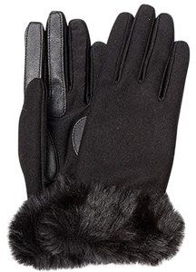Isotoner Black Wool Blend Stretch Faux Fur Cuff smarTouch Lined Gloves S XS