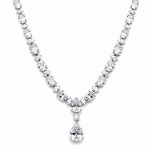 Mariell Drop Pear & Oval Cz Wedding Statement Necklace 4200n