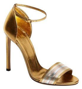 Gucci Dress Stiletto Date Night Holiday Party High Heel Gold Sandals