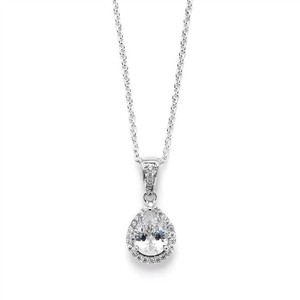 Mariell Silver 1.0 Ct Cz Pear Solitaire Pendant with Pave Frame 4508n-s Necklace