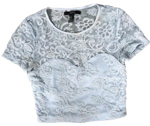 Forever 21 Top Light Blue Lace