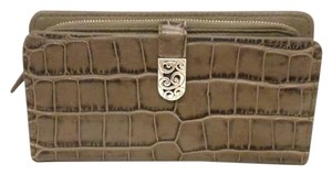 Brighton Brighton Mingle Lg Clutch Wallet Taupe Earth Croco Leather T34304 NWT