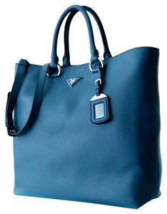 Prada Light Leather Large Tote in Blue