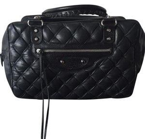 100% Authentic Black Balenciaga Matelasse Quilted Leather Bag Satchel in Black