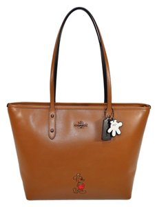 Coach City Mickey Mouse Tote in Dk/ Saddle
