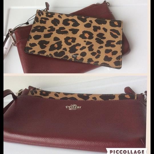 Coach New With Tags Wristlet in Burgundy / Leopard Image 1