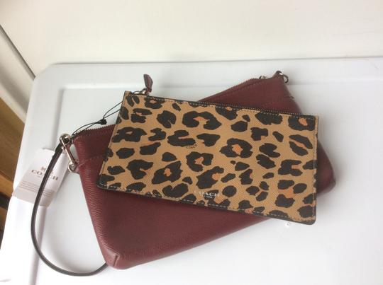 Coach New With Tags Wristlet in Burgundy / Leopard Image 3
