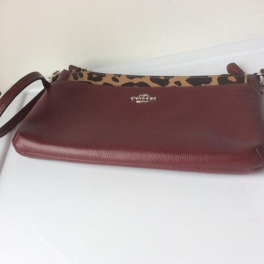 Coach New With Tags Wristlet in Burgundy / Leopard Image 4