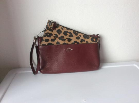Coach New With Tags Wristlet in Burgundy / Leopard Image 6