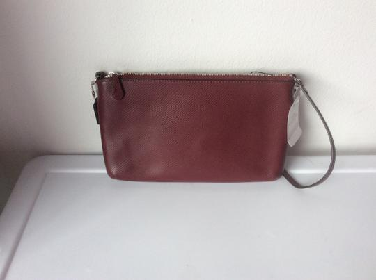 Coach New With Tags Wristlet in Burgundy / Leopard Image 9