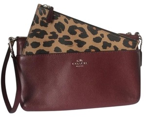 Coach New With Tags Nwt Wristlet in Burgundy / Leopard