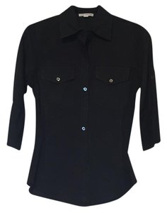 James Perse Shirt Blouse Cotton Button Down Shirt Black