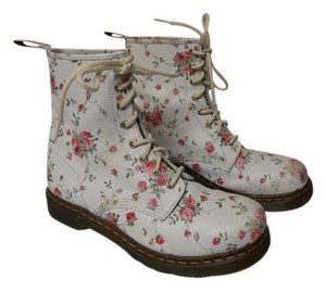 Dr. Martens Combat Air Wave Flowers white & pink Boots