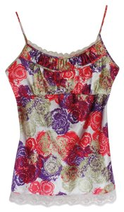 DKNY Lace Floral Empire Waist Top Purple and Deep Rose Print