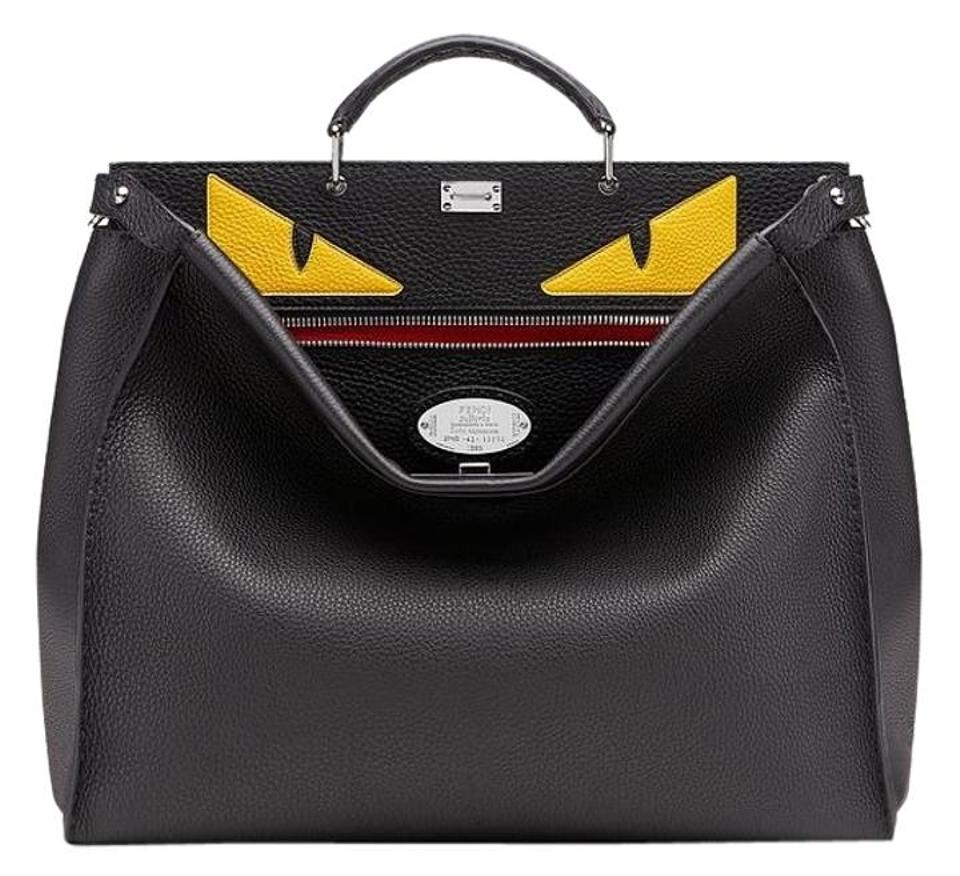 2a84f874adbd Fendi Yellow Monster Eyes Bug Selleria Peekaboo Black Leather ...