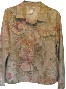 Coldwater Creek multi floral print Womens Jean Jacket