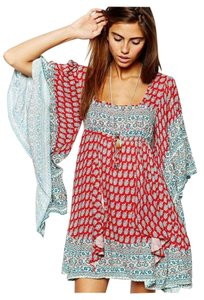 Free People short dress Red Paisley with Dark Blue Pattern on Tradesy