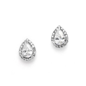 Brilliant A A A A A 1/2 Ct. Crystal Petite Pear Studs With Pave Frames