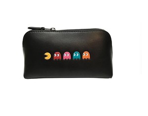 Coach Coach Pac Man Zippered Calf Leather Cosmetic Pouch Bag Black