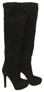 Miu Miu Spring Summer Moccassin Knee High Suede black Boots