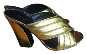 Gucci Crossover Webby Mules Gold Sandals