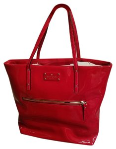 Kate Spade Designer Timeless Patent Leather Quality Tote in RED