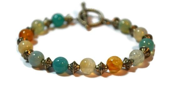 Handcrafted by Gems and Pearls KC Handcrafted Waterfall Amazonite Bracelet