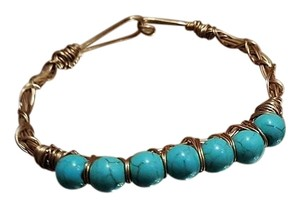 Other Vintage Blue Bead Gold Plated Wire Bangle
