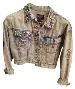 Dakota-Blue Dakota Studded Denim blue with Rhinestones Womens Jean Jacket