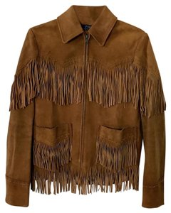 Ralph Lauren Fringed Leather Westeren Whiskey Brown Leather Jacket