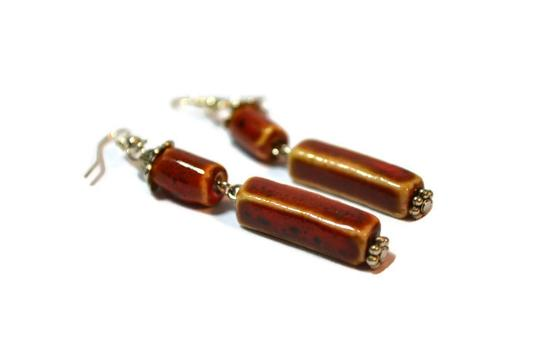 Handcrafted by Gems and Pearls KC Long Red Earrings