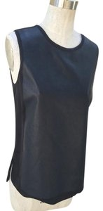 Vince Sleeveless Leather Tank New Top navy