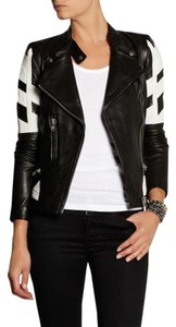 IRO White Hyde Leather Black Jacket
