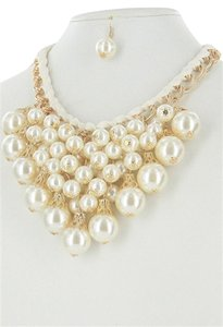 Clusters of Pearl Fashion Statement Necklace Set