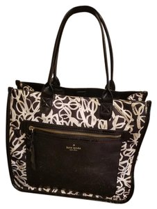 Kate Spade Sunglass Tote in Black and white with Patent Leather