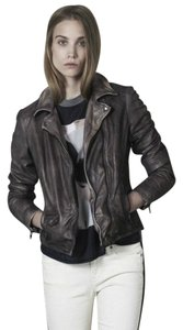 Muubaa Soft Moto Motorcycle gray Leather Jacket