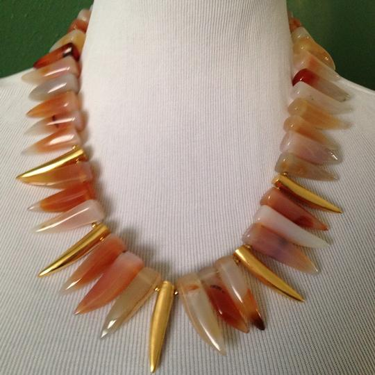 Kenneth Jay Lane Multicolor Agate Tooth Necklace