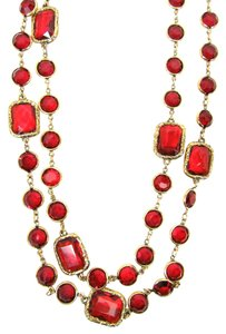Chanel Chanel Vintage Signed Red Crystal Chicklet Necklace, Sautoir, 64