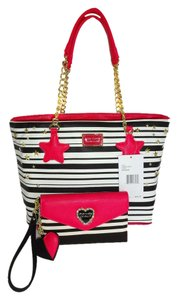 Betsey Johnson Star Studded Black/White Stripe Top Zip Closure Matching Wallet Tote in black/bone