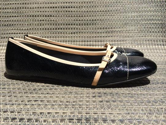 French Sole Pattent Leather Ballet Designer Black/Nude Flats