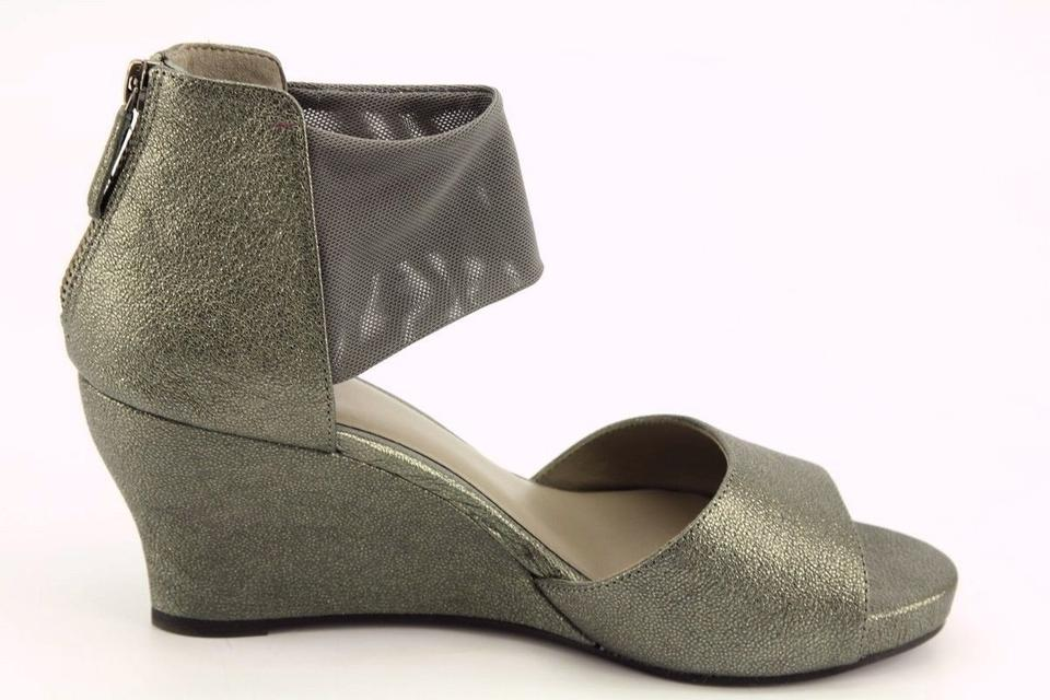 d705f3192e2 Eileen Fisher Pewter Corona Mid-wedge Ankle-cuff Sandal Wedges Size US 7  Regular (M