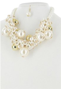 Other Clusters of Pearl Fashion Statement Necklace Set