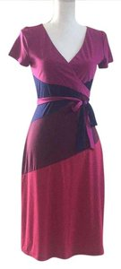 BCBGMAXAZRIA Wrap Magenta Block Greer Dress