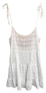 Rails short dress White Linen Cotton Plaid Open Back Tiered on Tradesy